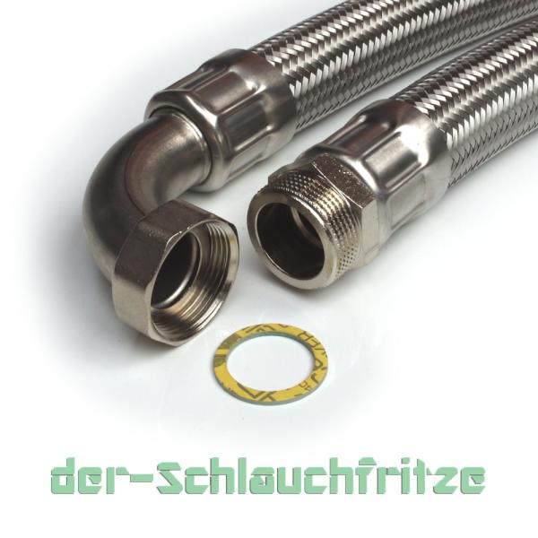 """Panzerschlauch 1 1/4""""AG x 1 1/4""""ÜM Bogen, Flexschlauch für Trinkwasser DN32"""
