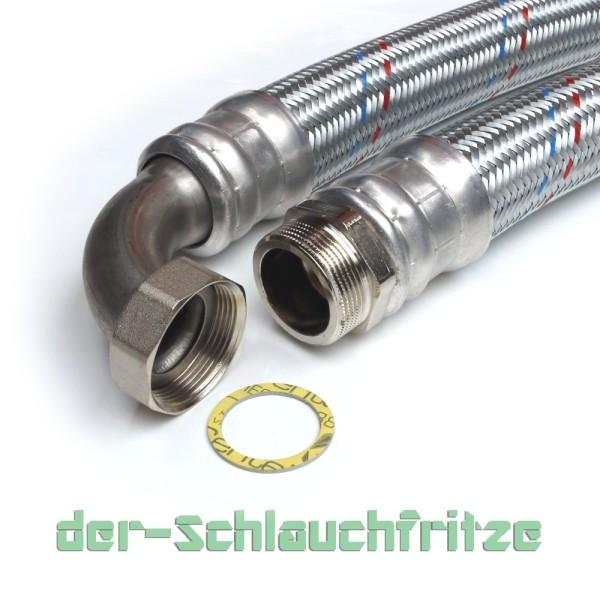 Panzerschlauch 2 Zoll AG x 2 Zoll ÜM Bogen, Flexschlauch DN50 für die Heizung