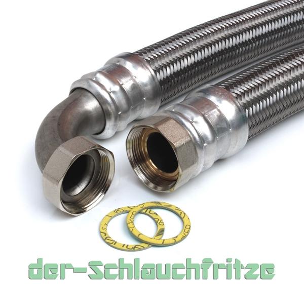 """Panzerschlauch 1 1/2""""ÜM x 1 1/2""""ÜM Bogen (DN40) für Nutzwasser"""