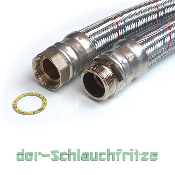 "Panzerschlauch 1 1/2""ÜM x 1 1/2""AG, Flexschlauch DN40 für Heizung"