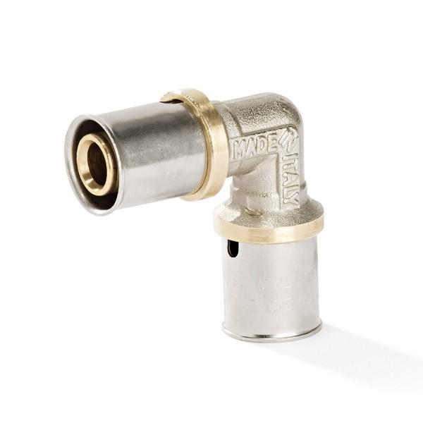 Pressfitting 90° Winkel für Aluverbundrohr und Mehrschichtverbundrohr mit DVGW