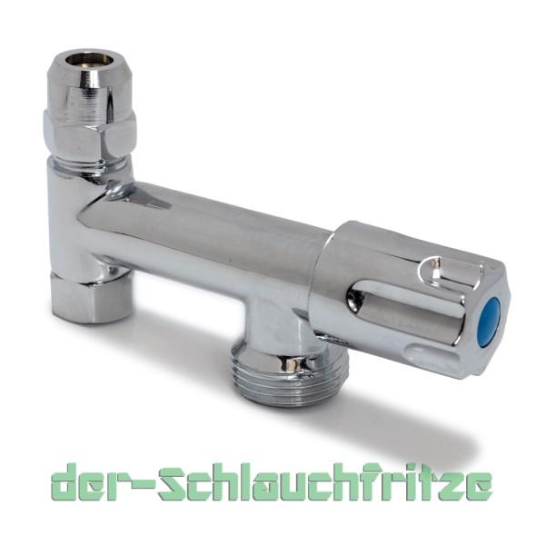 """Gerätezusatzventil mit 3/8""""AG (10mm Quetschverschraubung) und 3/4""""AG"""