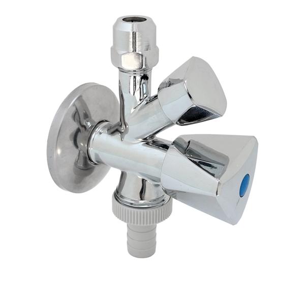 "Kombi-Eckventil 1/2""AG x 10mm x 3/4""AG, Geräteventil mit Schlauchverschraubung und Rückflussverhinde"