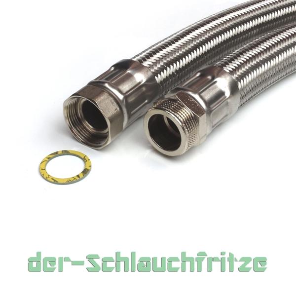 """Panzerschlauch 1 1/4""""ÜM x 1 1/4""""AG (DN32) für Nutzwasser"""