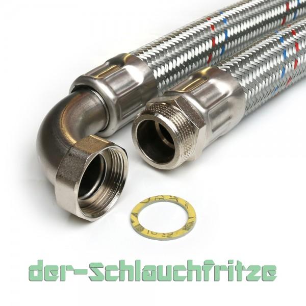 "Panzerschlauch 1 1/4""AG x 1 1/4""ÜM Bogen, Flexschlauch DN32 für Heizung"