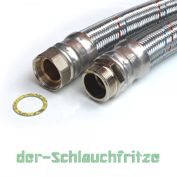 Panzerschlauch 2 Zoll ÜM x 2 Zoll AG, Flexschlauch DN50 für Heizung