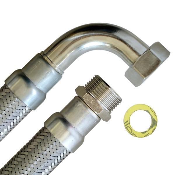 Flexschlauch 1 Zoll AG x 1 Zoll ÜM mit Bogen, hoch flexibler Panzerschlauch mit Trinkwasserzulassung