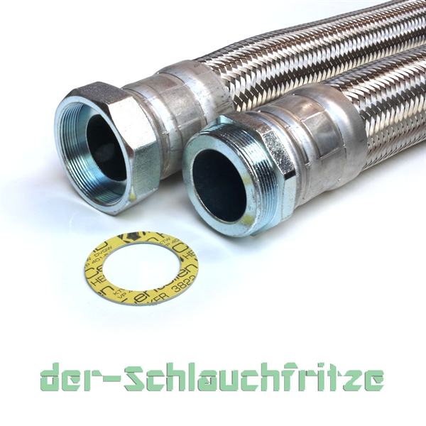 "Panzerschlauch 2 1/2"" ÜM x 2 1/2"" AG, Flexschlauch DN60 für Heizung"