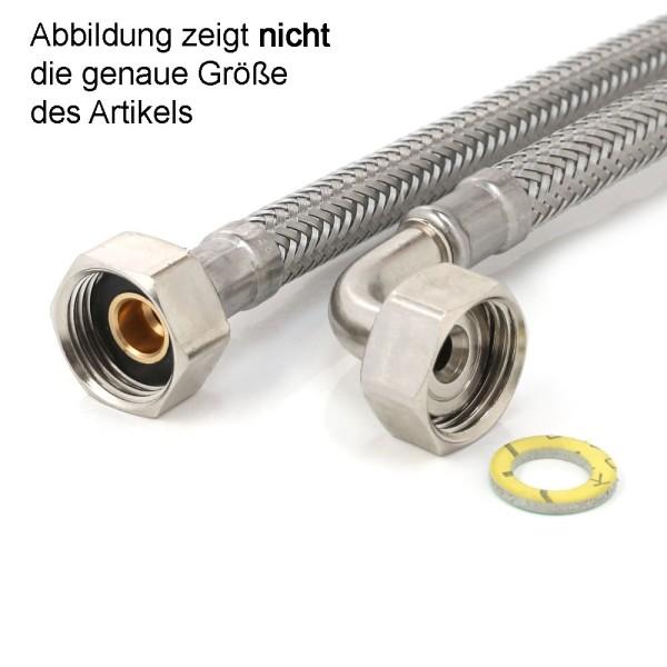 "Panzerschlauch 3/8"" ÜM x 3/4"" ÜM Bogen, Flexschlauch DN8 Sanitär Trinkwasser, 20cm - 2m"