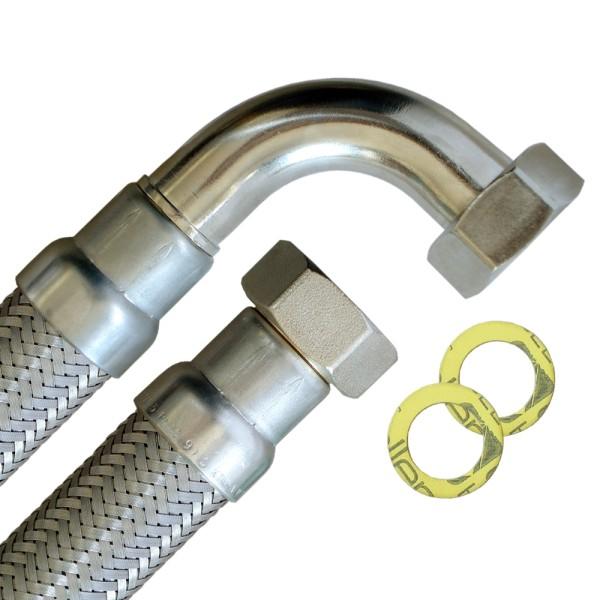 Flexschlauch 1 Zoll ÜM x 1 Zoll ÜM mit Bogen, hoch flexibler Panzerschlauch mit Trinkwasserzulassung