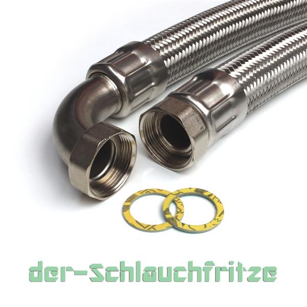 """Panzerschlauch 1 1/4""""ÜM x 1 1/4""""ÜM Bogen, Flexschlauch für Trinkwasser DN32"""