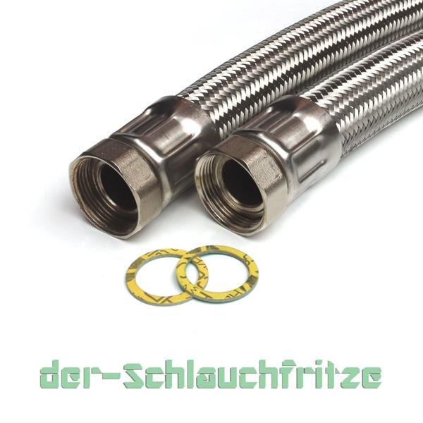 """Panzerschlauch 1 1/4""""ÜM x 1 1/4""""ÜM, Flexschlauch für Trinkwasser DN32"""