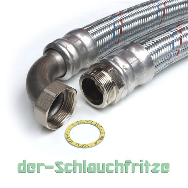 "Panzerschlauch 1 1/2""AG x 1 1/2""ÜM Bogen, Flexschlauch DN40 für Heizung"
