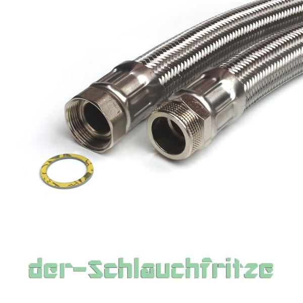 """Panzerschlauch 1 1/4""""ÜM x 1 1/4""""AG, Flexschlauch DN32 für Trinkwasser"""