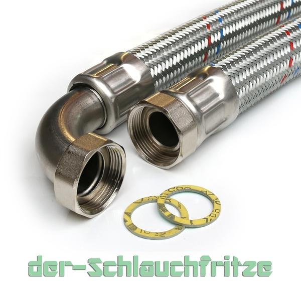 "Panzerschlauch 1 1/4""ÜM x 1 1/4""ÜM Bogen, Flexschlauch DN32 für Heizung"