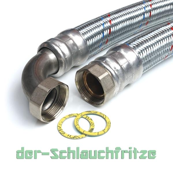 "Panzerschlauch 1 1/2""ÜM x 1 1/2""ÜM Bogen, Flexschlauch DN40 für Heizung"