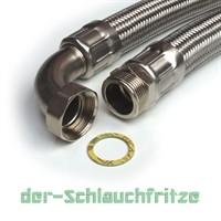"""Panzerschlauch 1 1/4""""AG x 1 1/4""""ÜM Bogen (DN32) für Nutzwasser"""