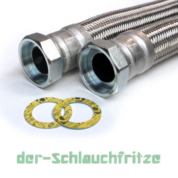 "Panzerschlauch 2 1/2"" ÜM x 2 1/2"" ÜM, Flexschlauch DN60 für Heizung"